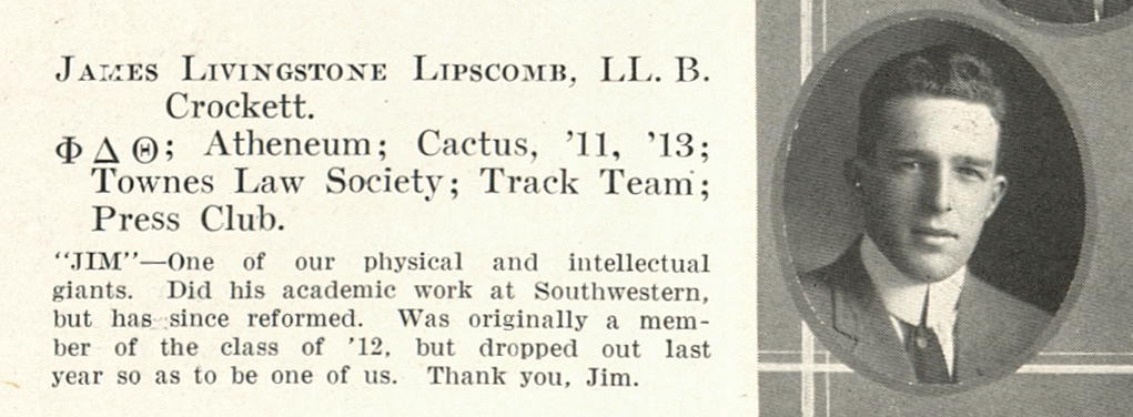 J. L. Lipscomb senior picture, 1913