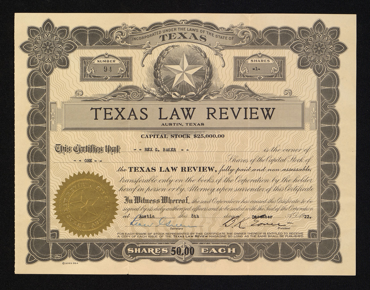 Texas Law Review stock certificate