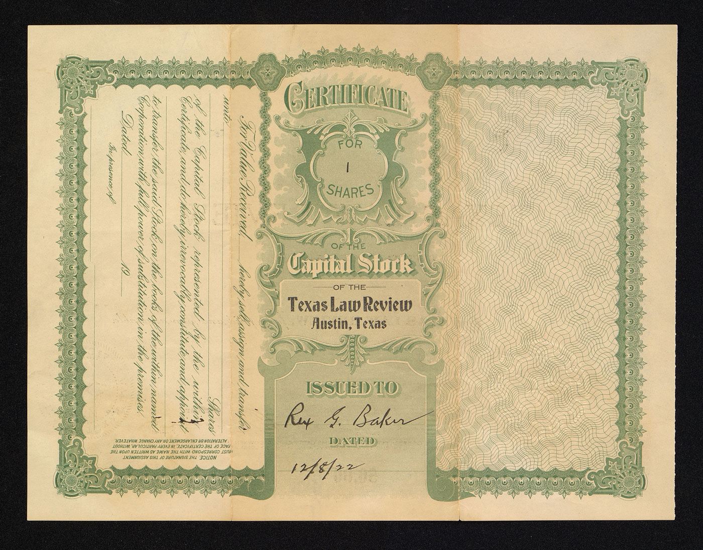 Texas Law Review stock certificate reverse
