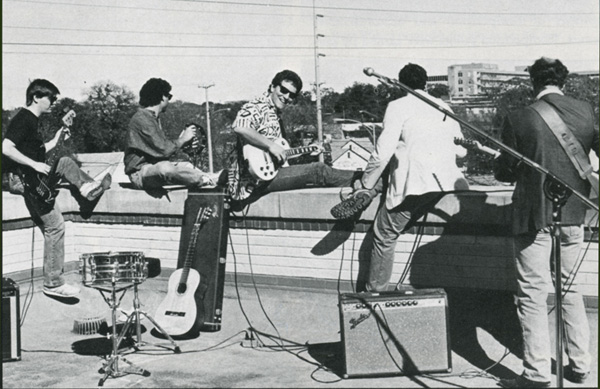 "Photo of band Rehearsing ""La Bamba"" from 1988 Peregrinus, p. 21"