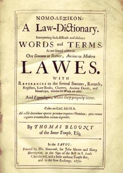 Title Page of Nomo-Lexicon, 1670
