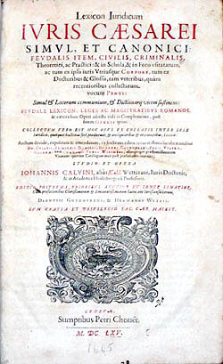Title page, lexicon juridicum, 1665