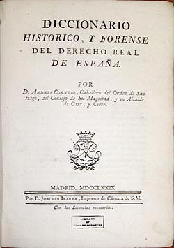 Title page of Diccionario, 1779