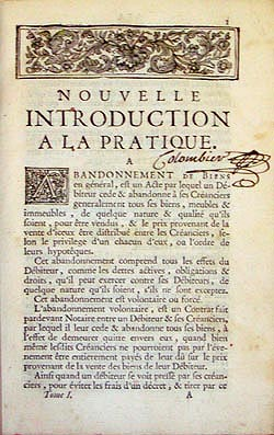 Introduction, Dictionnaire de droit, 1739