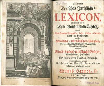 Title page and frontispiece, Allgemeines teutsches juristisches Lexicon, 1738