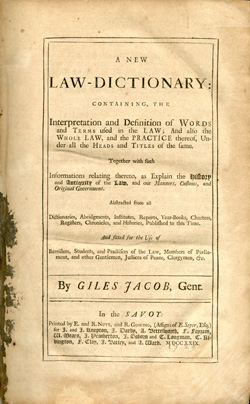 Title page, A New Law Dictionary, 1729