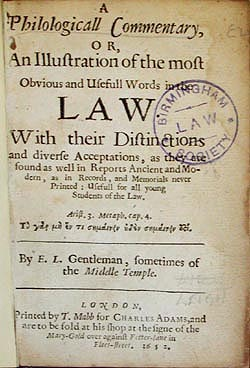 Title page of A PhiloloicallCommentary, 1652