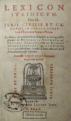 Title page, Lexicon juridicum, 1615