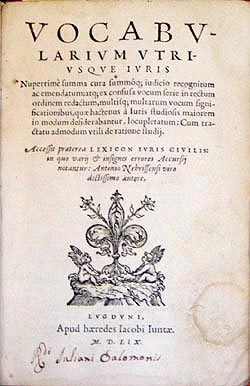 Title page Vocbularium, 1559