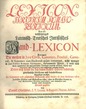 Title page, Lexicon juridicum Romano-Teutonicum, 1726, 1532