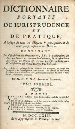 Title page, Dictionnaire portatif, 1763