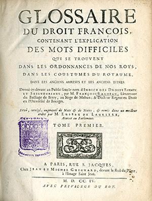 Title page, Glossaire de droit francais, 1704.