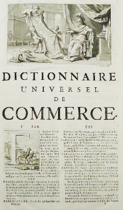 Title page, Dictionnaire universel de commerce, 1723