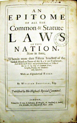 Title page, An Epitome, 1656