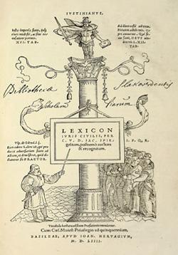 Title page, Lexicon, 1554