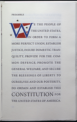 Arion prss, decorated initial, preamble to the Constitution