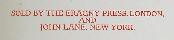 Eragny Press, colophon detail