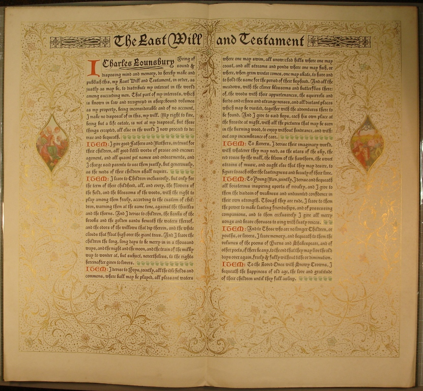 The Last Will and Testament of Charles Lounsbury, 1929
