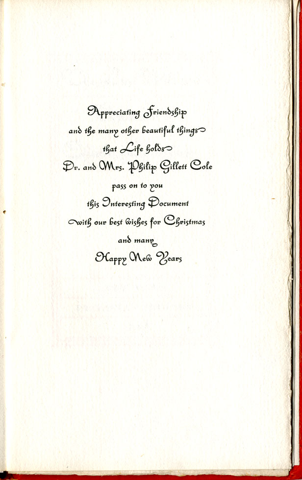 Greeting, Christmas Keepsake, 1928