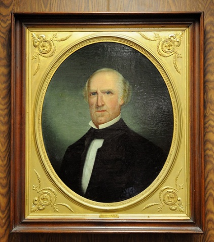 photo of Sam Houston oil portrait in decorative wooden frame