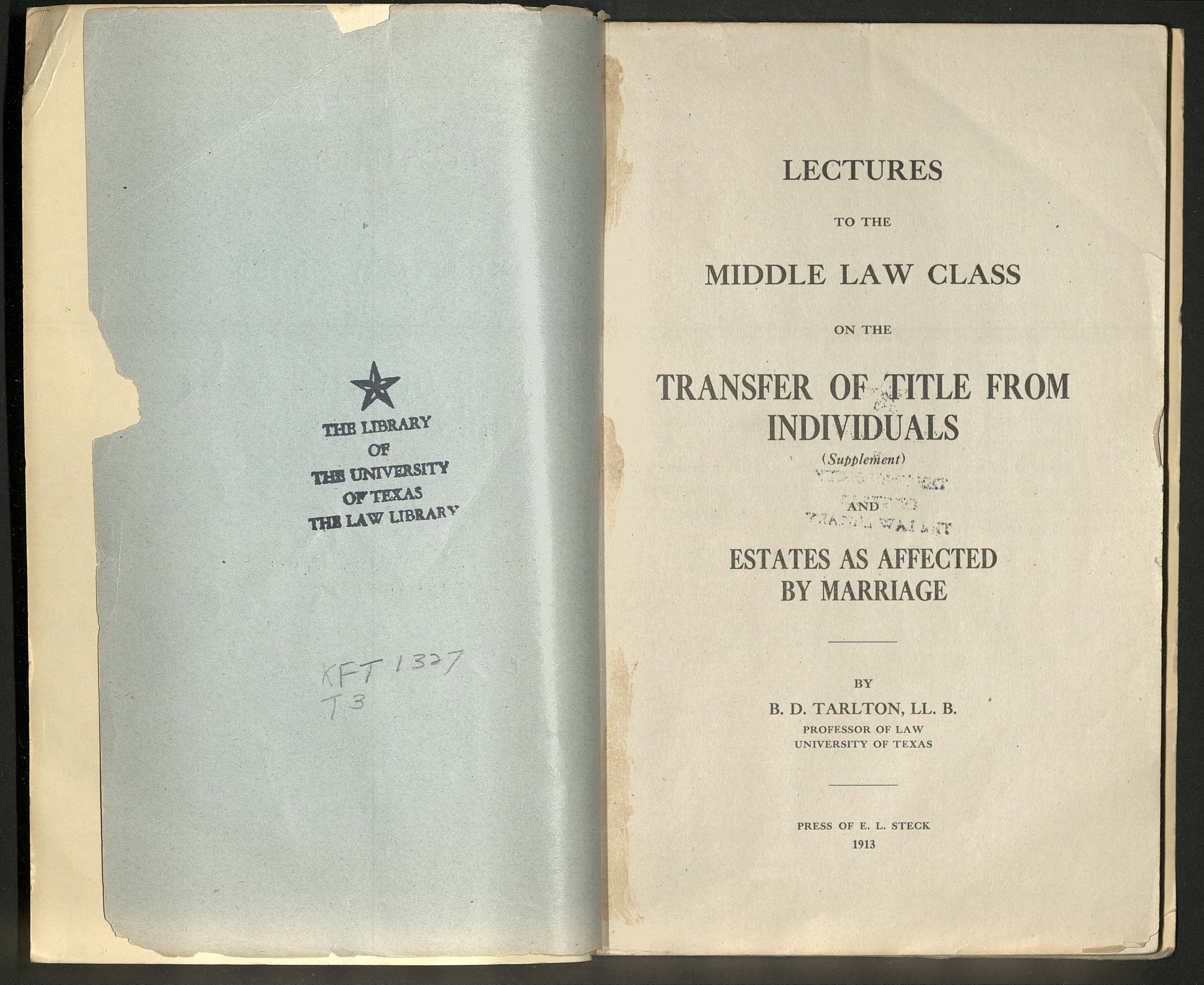 Lectures to the Middle Law Class title page