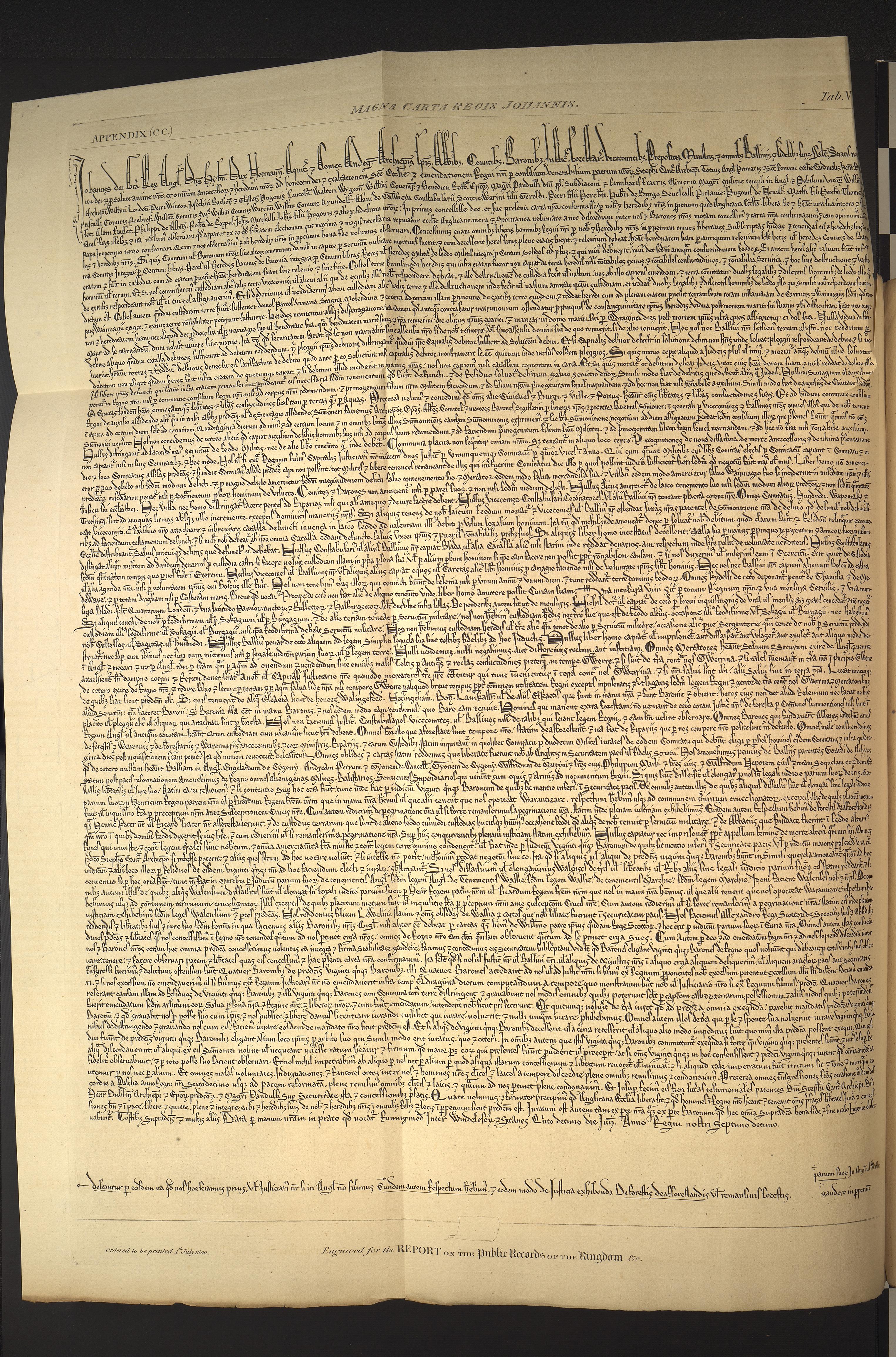 Magna Carta 1215 Facsimile