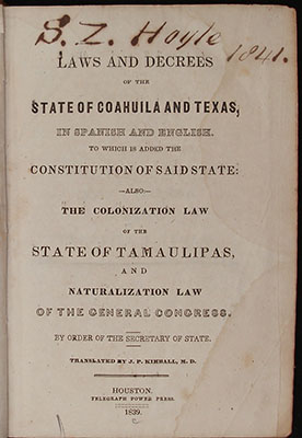 Title page, Laws of Coahuila