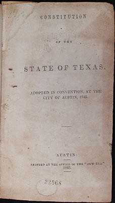 Title Page, Texas State Constiution 1845