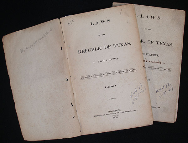 Title pages First Session Laws of the Republic