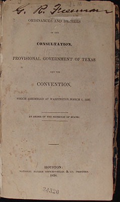Title page, Ordinances and Decrees