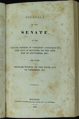 Title page, Senate Journal