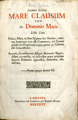 Title Page Mare calusum, 1635