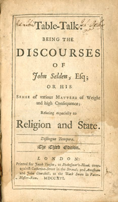 Title page Table Talk, 1716