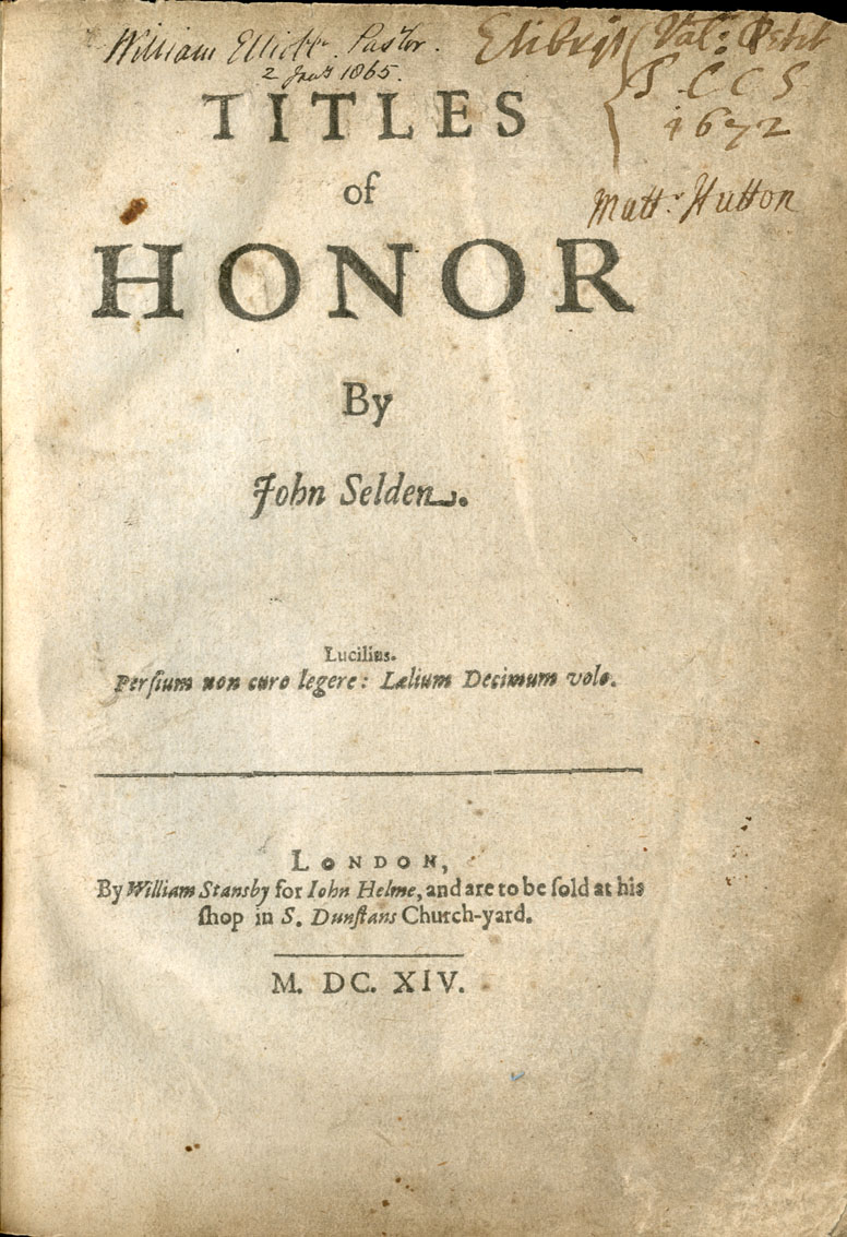 Title Page Titles of Honor, 1614