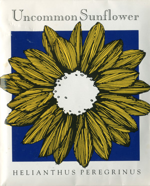 White packet of sunflower seeds with image of a large yellow sunflower with blue background. Top text: Uncommon Sunflower. Bottom text: Helianthus Peregrinus