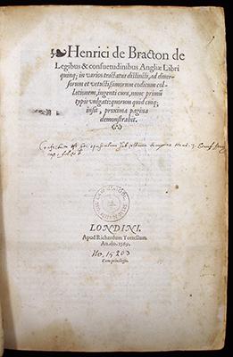 Bracton, Title Page