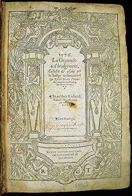 Brooke's Abridgment, Title Page