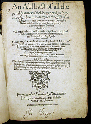 Abstract of Statutes, 1579, Title page