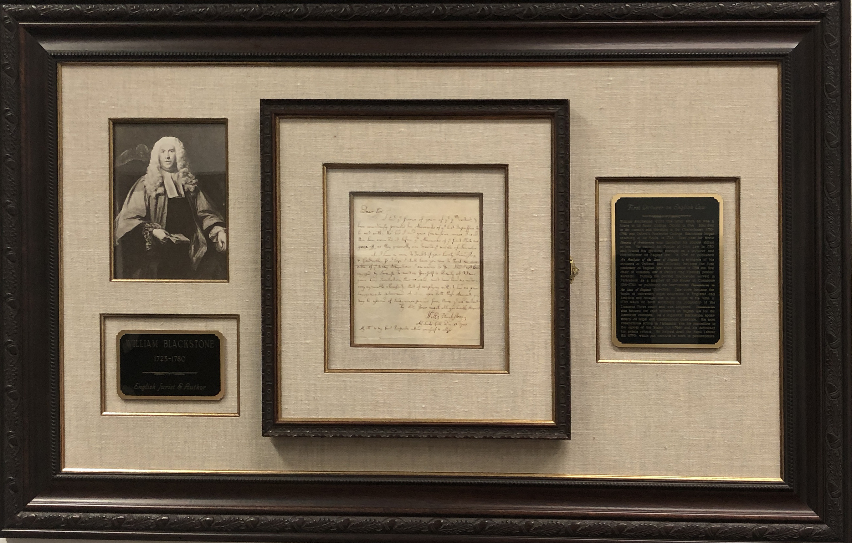 Framed letter of December 13, 1744 from William Blackstone
