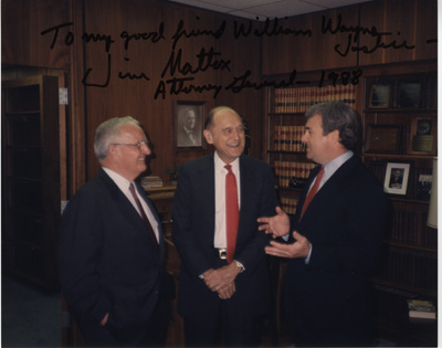 W.W. Justice, Attny. Gen. Mattox, and Gov. Clements, 1988
