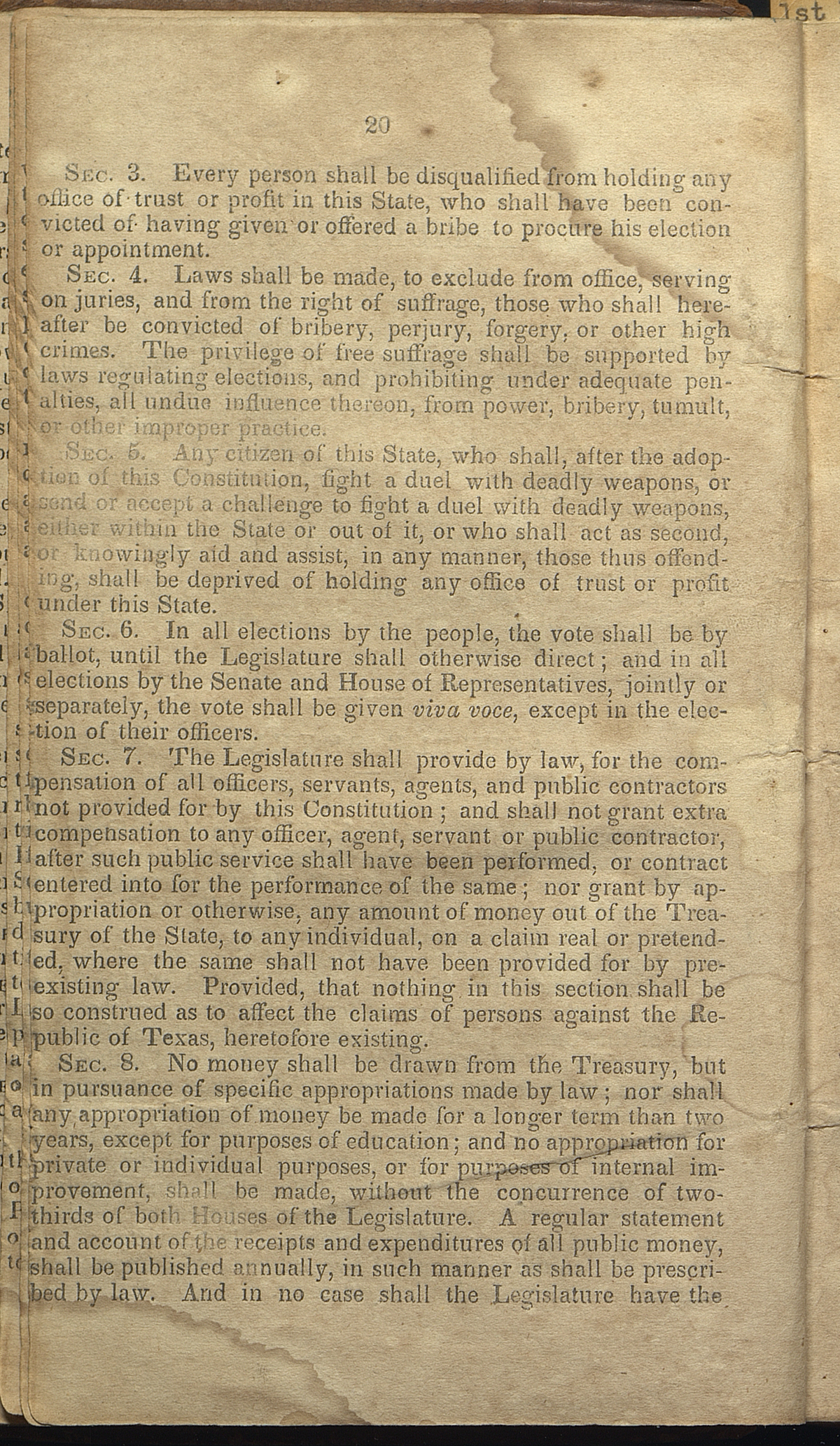Article VII, Sections 3-8