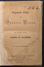 Title page, 1845 Constitution of Texas - German translation