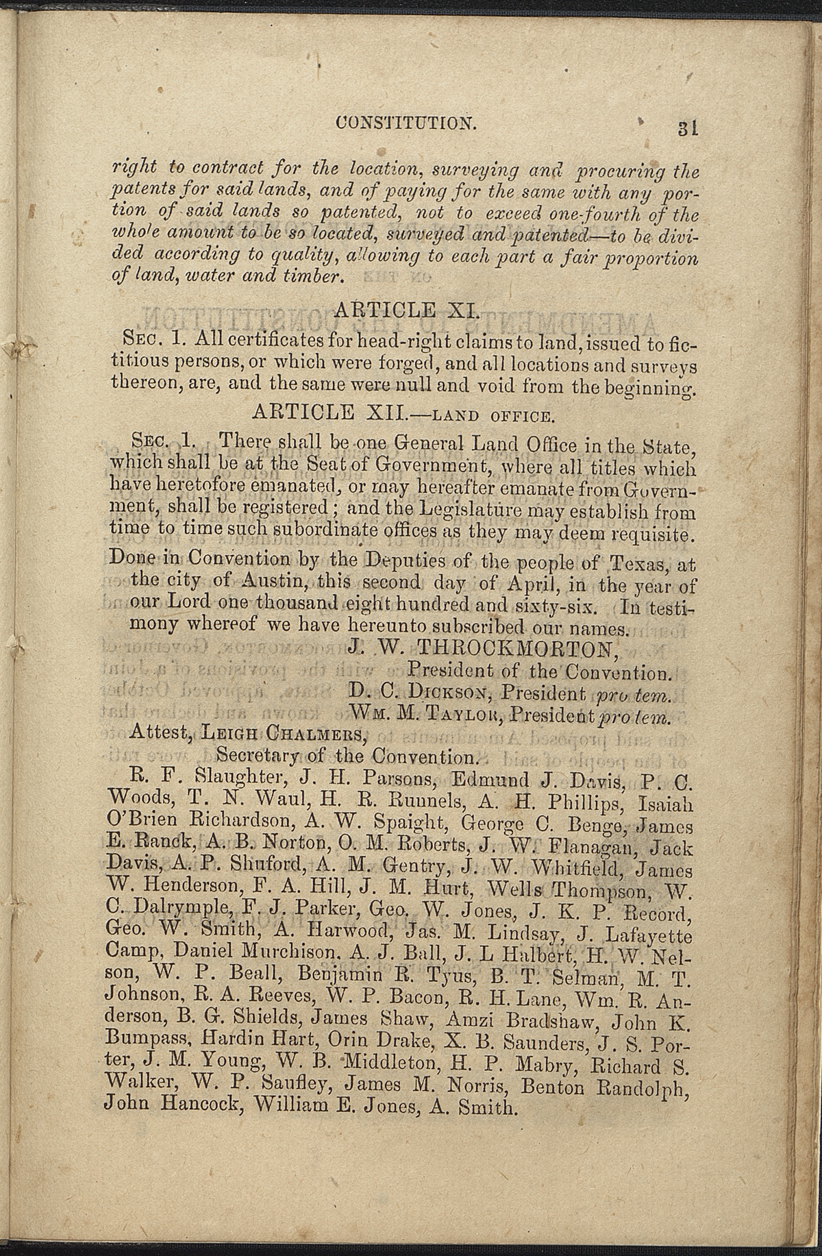 Article XII, Section 1