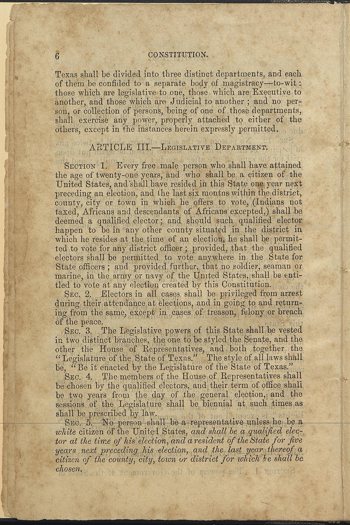 Article III, Sections 1-5