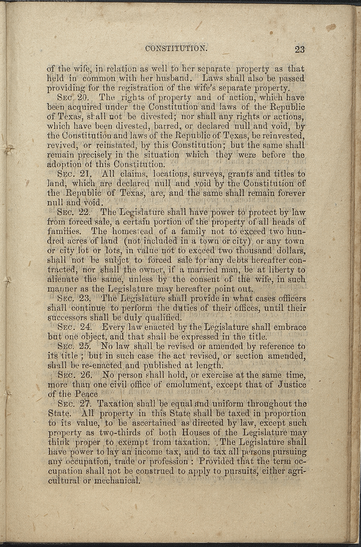Article VII, Sections 19-27