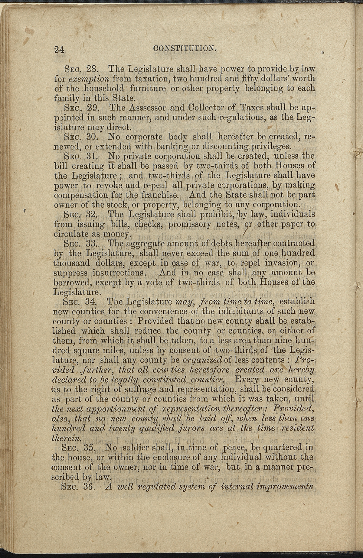 Article VII, Sections 28-36