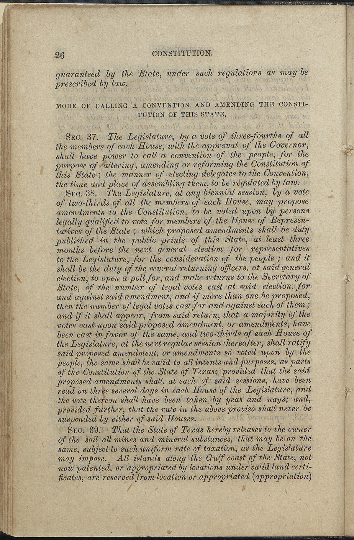 Article VII, Sections 36-39
