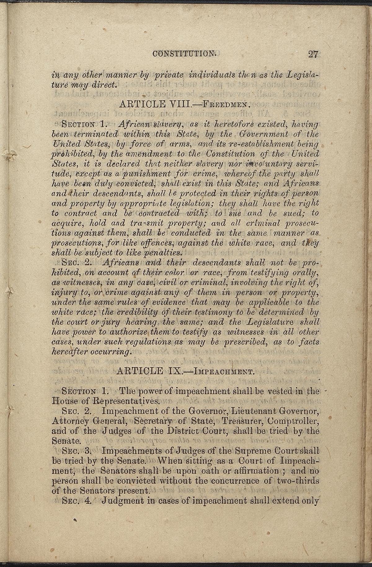Article VIII, Sections 1-2; Article IX, Sections 1-4