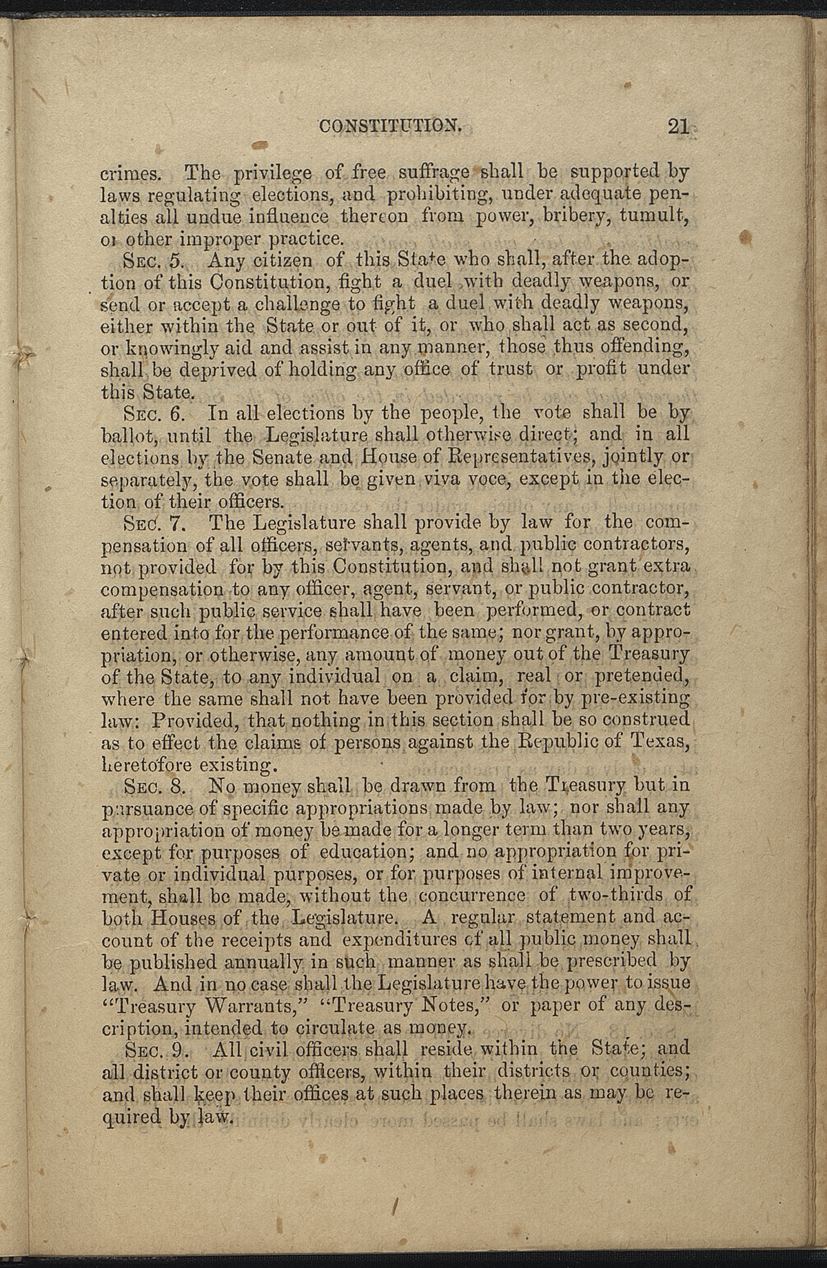 Article VII, Sections 4-9