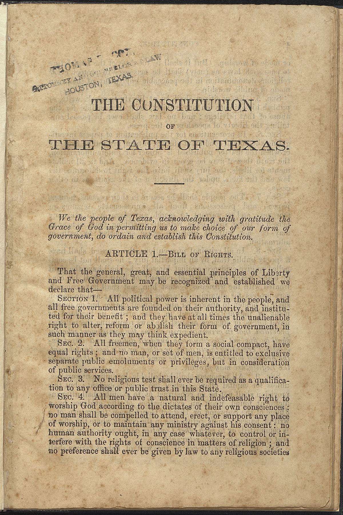 Preamble; Article I, Sections 1-4